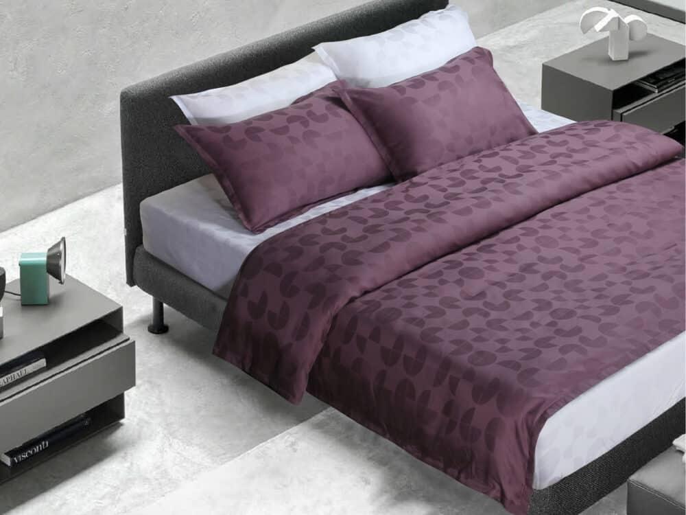Bellami Monti Papermoon Jacquard 100% Charcoal Tencel 1000 Thread Count Mental Purple