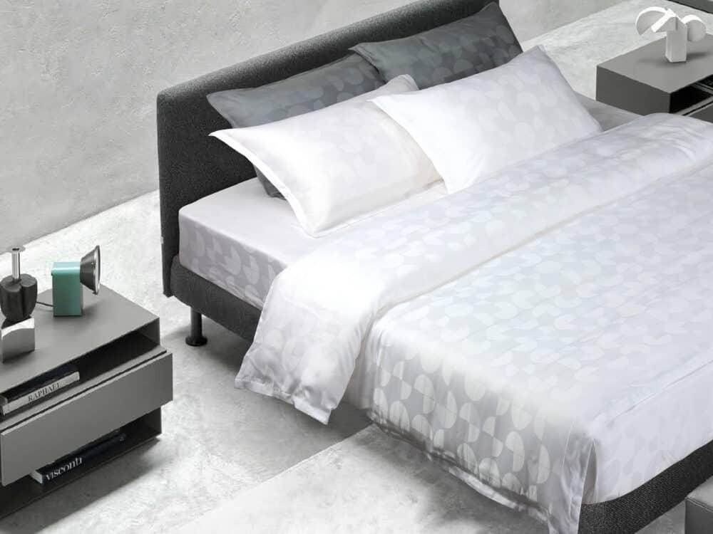 Bellami Monti Papermoon Jacquard 100% Charcoal Tencel 1000 Thread Count White