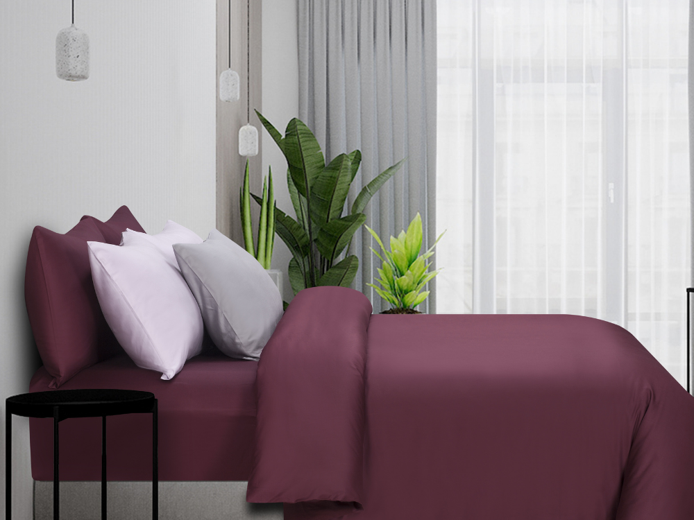 Marie Claire Morpheus Solid Fitted Sheet Set Colour: Burgundy