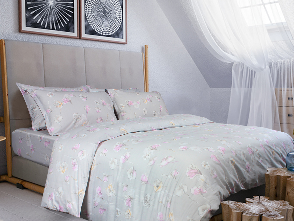 Marie Claire Kora Printed 100% Egyptian Cotton, 1000 Thread Count Fitted Sheet / Bed Set Design: Vinca