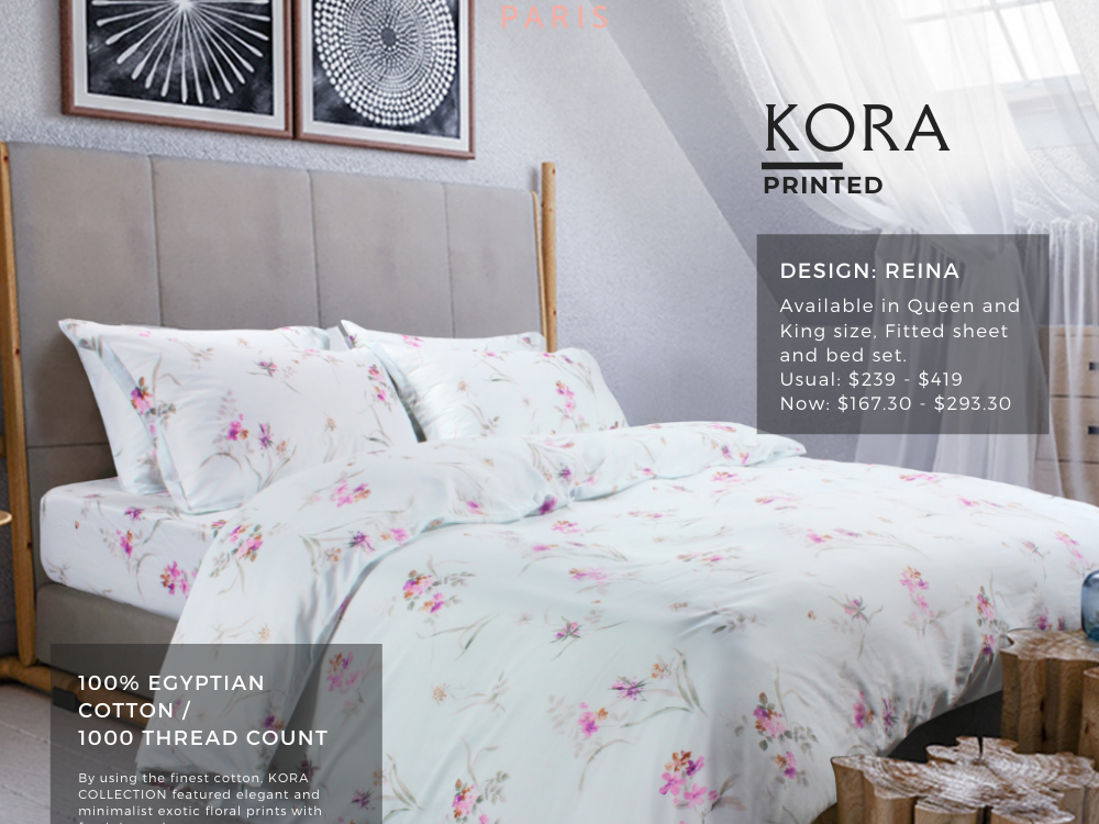 Marie Claire Kora Printed 100% Egyptian Cotton, 1000 Thread Count Fitted Sheet / Bed Set Design: Reina