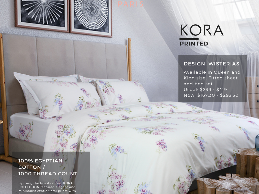 Marie Claire Kora Printed 100% Egyptian Cotton, 1000 Thread Count Fitted Sheet / Bed Set Design: Wisterias